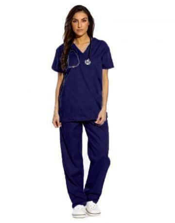 Blue Black Half Sleeve Medical Scrub