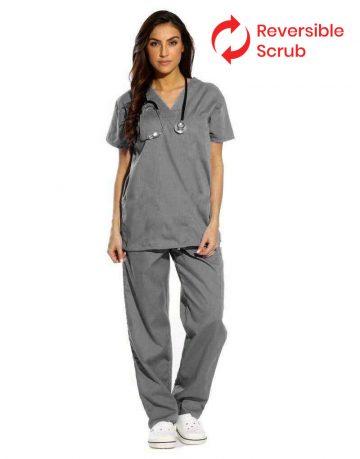 Dark Grey Reversible Half Sleeve Medical Scrubs