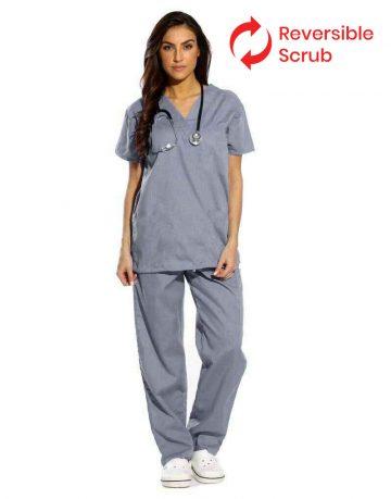 Grey Reversible Half Sleeve Medical Scrubs