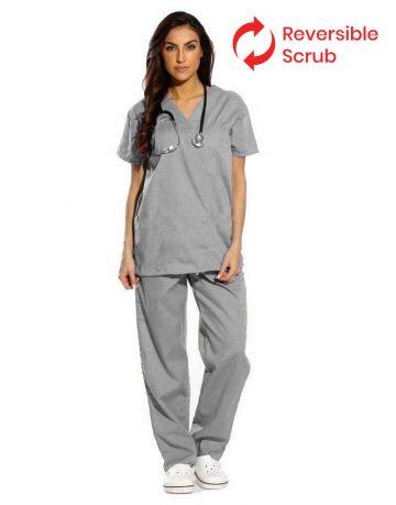 Light Grey Reversible Half Sleeve Medical Scrubs