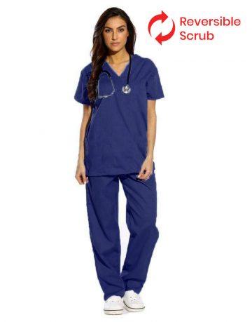 Navy Blue Reversible Half Sleeve Medical Scrubs