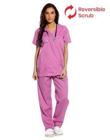 Pink Reversible Half Sleeve Medical Scrubs