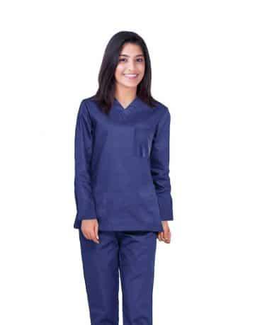 Blue Black Full Sleeve All-Day Medical Scrubs