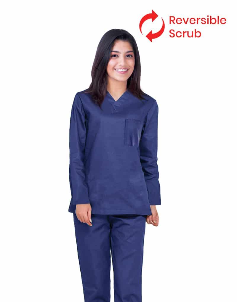 Blue Black Reversible Full Sleeve Medical Scrubs