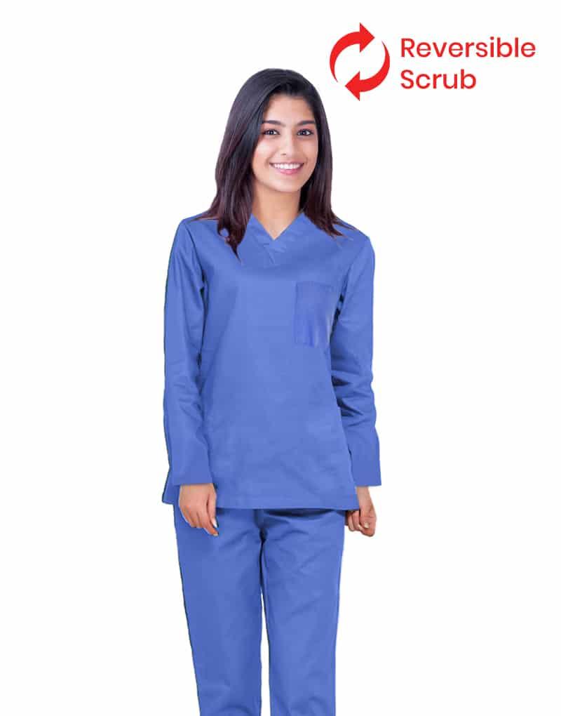 Reversible Sky Blue Medical Scrubs -Full Sleeve