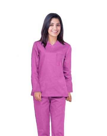Pink Full Sleeve All-Day Medical Scrubs