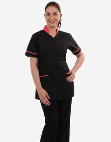 Black Half Sleeve Medical Scrubs with Collar