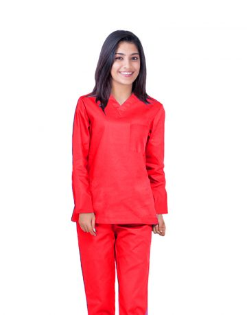 Red Full Sleeve All-Day Medical Scrubs