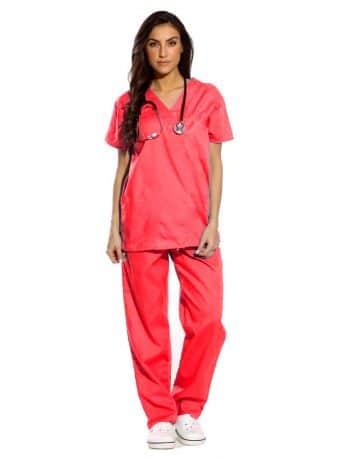 Red Half Sleeve All-Day Medical Uniform Scrubs
