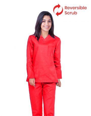 Red Reversible Full Sleeve Medical Uniform Scrub