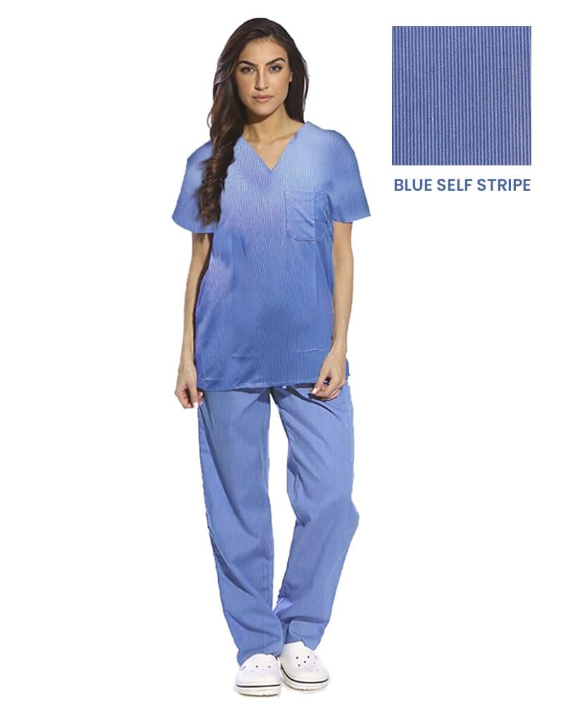 Blue Self Stripe Half Sleeve Medical Scrubs