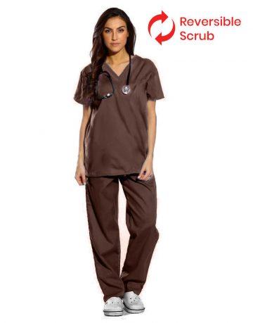 Brown Reversible Half Sleeve Medical Scrubs