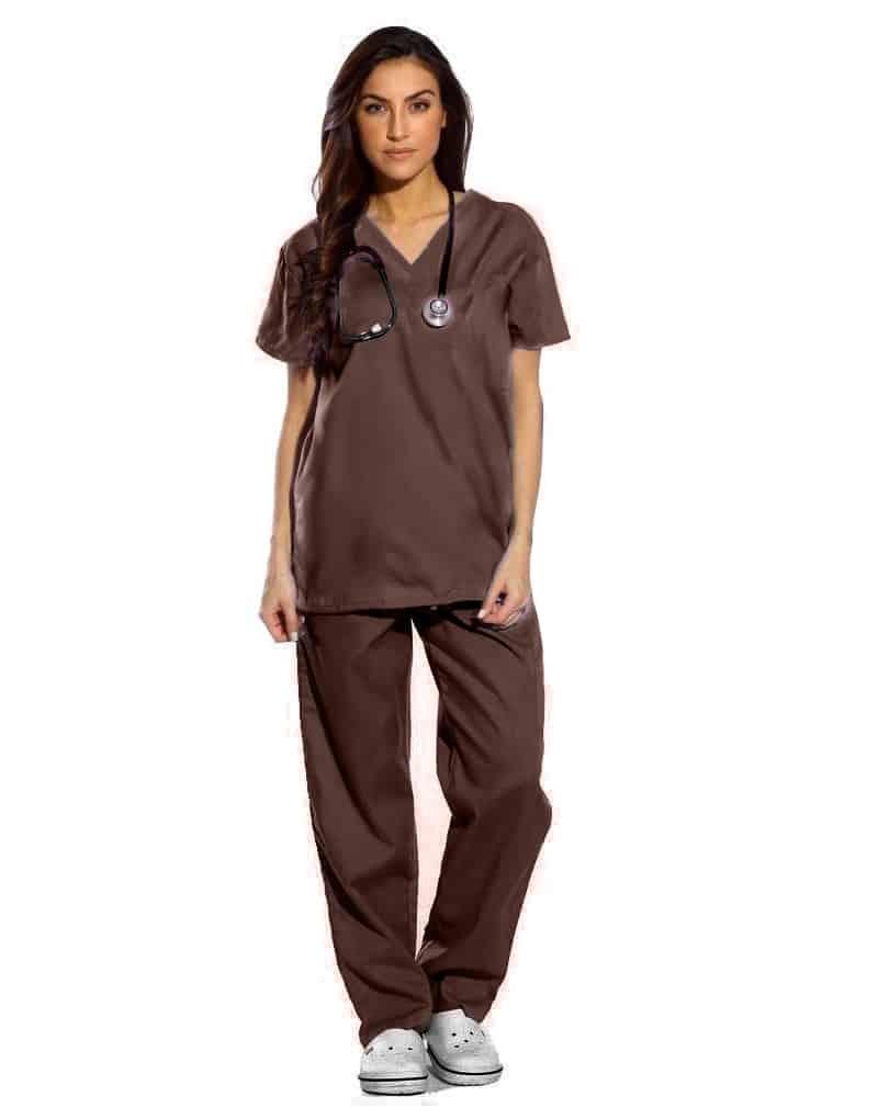 Brown Half Sleeve All-Day Medical Uniform Scrubs