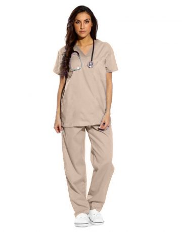 Natural Matte Half Sleeve All-Day Medical Scrubs