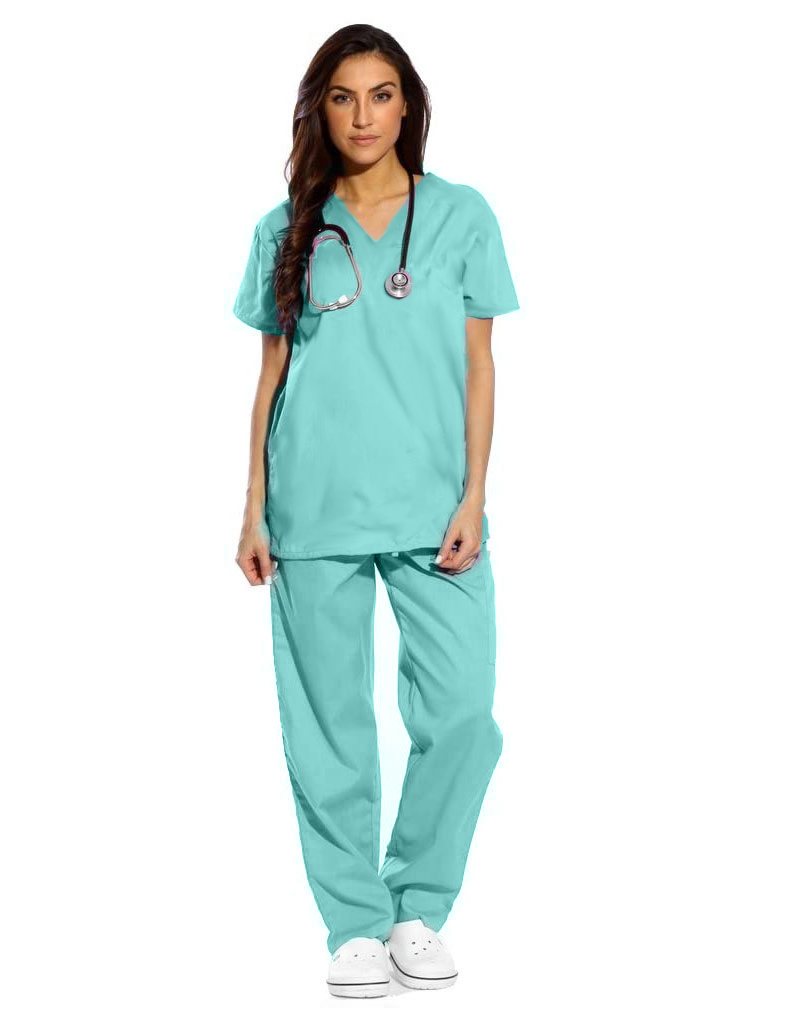 Sea Green Half Sleeve All-Day Medical Uniform Scrubs