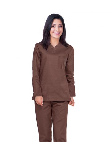 Brown Full Sleeve All-Day Medical Scrubs