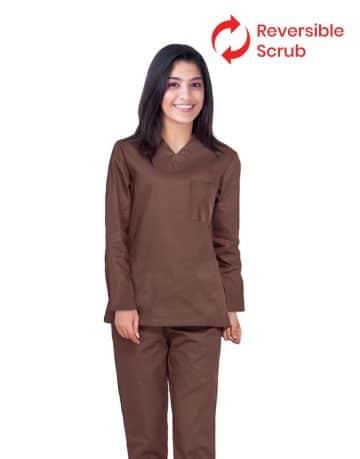 Brown Reversible Full Sleeve Medical Uniform Scrub