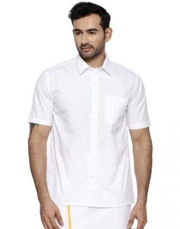 Men's Ramraj White Formal Shirt - Half Sleeve