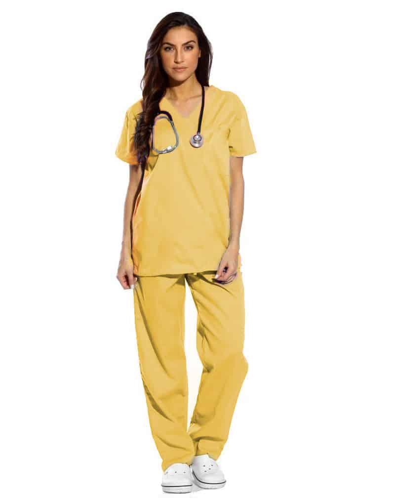 Yellow Half Sleeve All-Day Medical Uniform Scrubs