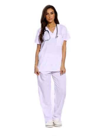 White Half Sleeve All-Day Medical Uniform Scrubs