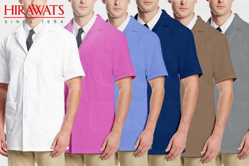 Blue, White, Grey, Sky Blue, Pink colored Lab Coats