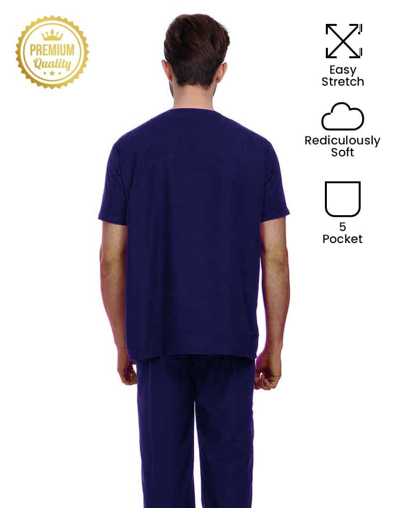 Blue Black Premium Easy Stretch Half Sleeve Medical Scrubs Back - Male
