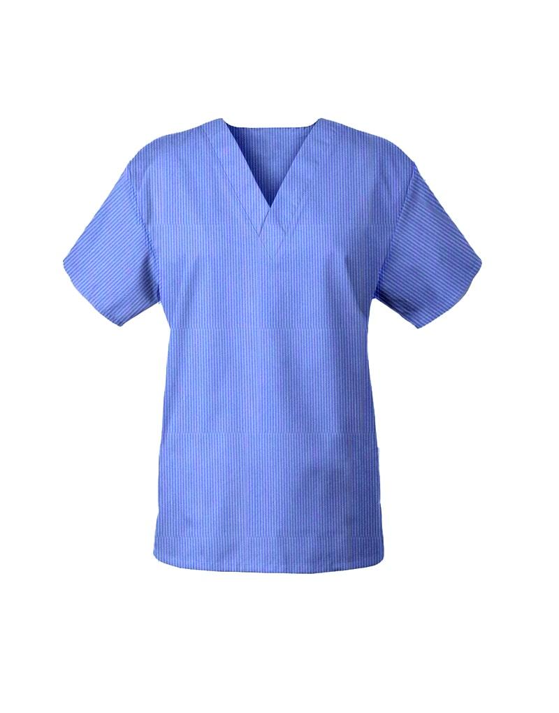 Blue Self Stripe Top Half Sleeve Unisex Medical Scrubs