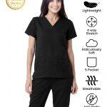 Black Premium Athleisure Stretch Half Sleeve Medical Scrubs – Female
