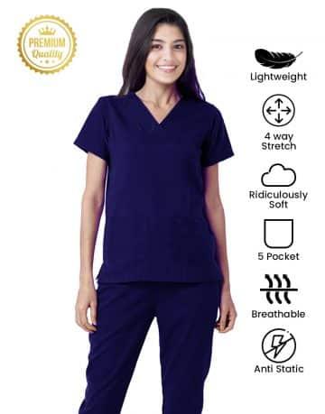 Navy Blue Premium Athleisure Stretch Half Sleeve Medical Scrubs