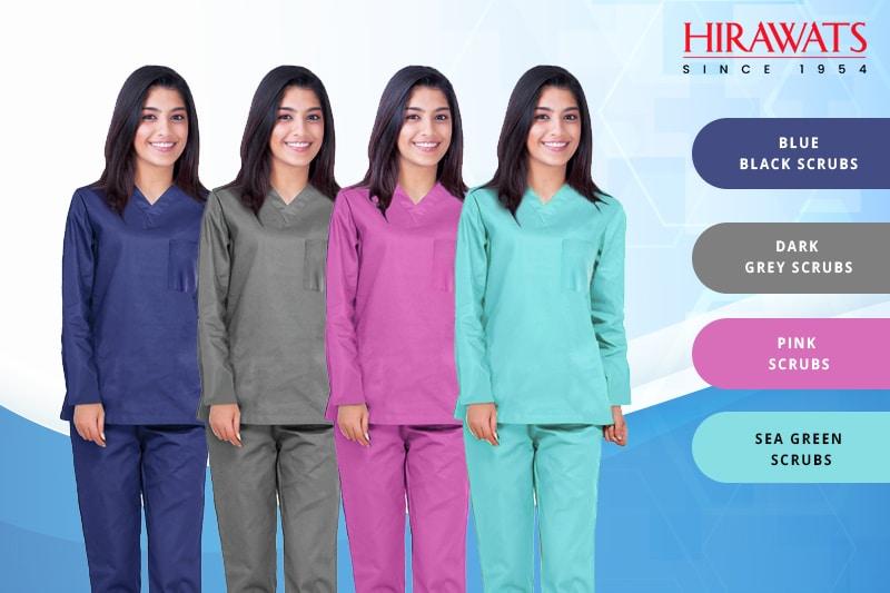 Blue Black, Dark Grey, Pink, and Sea Green Doctor Scrubs