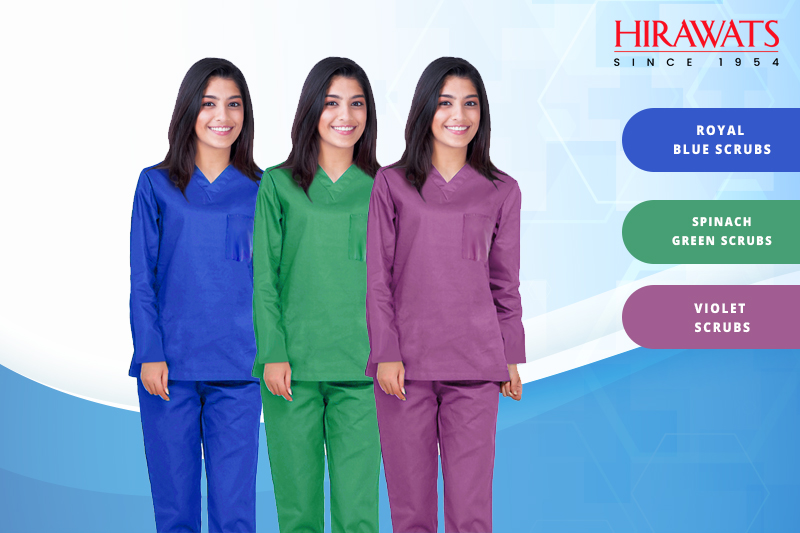 Royal Blue, Spinach Green, and Violet Doctor Scrubs