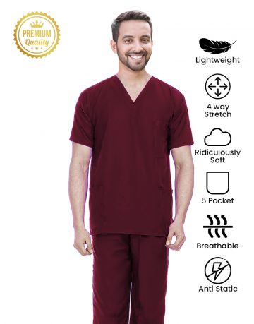Maroon Premium Athleisure Stretch Half Sleeve Medical Scrubs