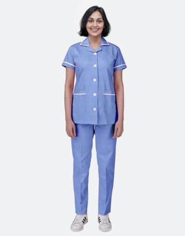 Blue Stripe Half Sleeve Nurse uniform