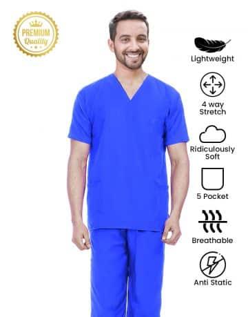 Royal Blue Premium Athleisure Stretch Half Sleeve Medical Scrubs – Male