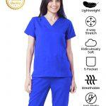 Royal Blue Premium Athleisure Stretch Half Sleeve Medical Scrubs