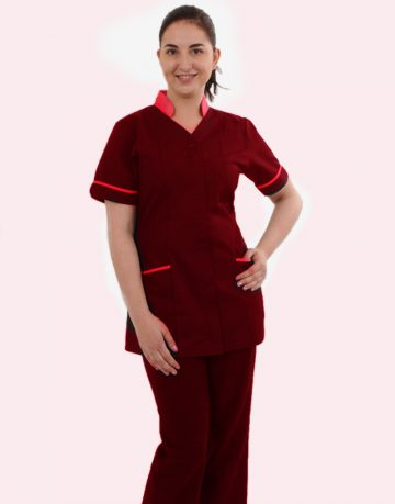 Red Half Sleeve Medical Scrubs with Collar